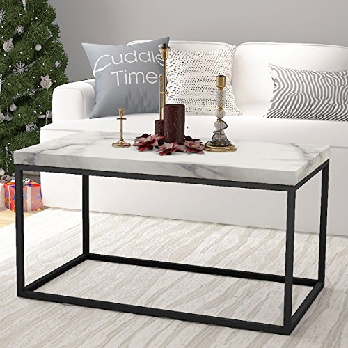 Faux White Marble Coffee Table Set: Roomfitters Faux Marble Top Coffee Table Living Room