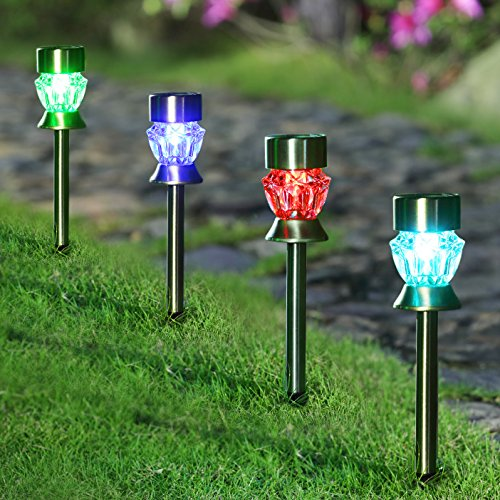Pc Color Changing Solar Lights Set: Maggift Solar Pathway Lights Diamond Glass Solar Lights