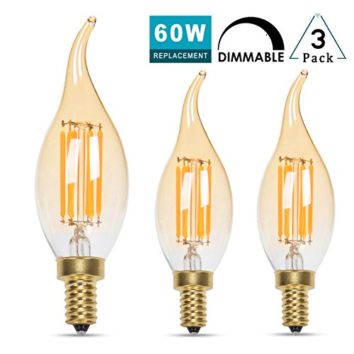 Cleveland Vintage Lighting Edison Flame Candelabra Bulbs: Panledo LED Filament Candelabra Bulb 6W Dimmable, 60W